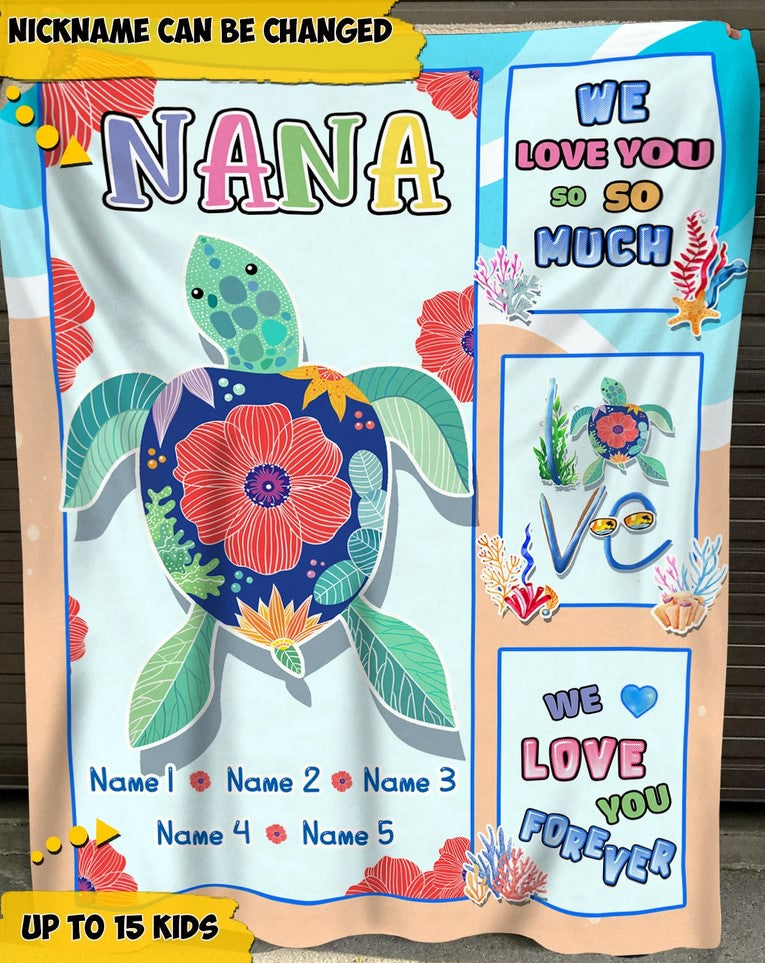 Personalized Mothers Day Blanket  - Perfect Gift For Grandma from grankids - We love you forever, Turtle Marine life  Fleece Blanket