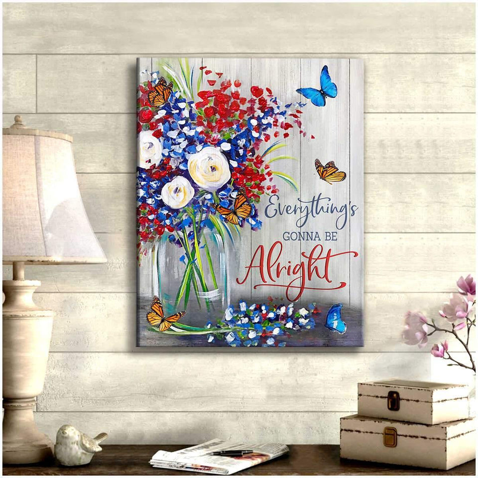 Be Alright Butterfly Canvas  – Butterfly Canvas Print Wall Art - Anniversary Birthday Christmas Housewarming Gift Home Decor