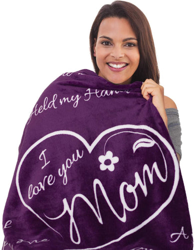 Mothers Day Blanket  I Love You Mom Blanket - Gifts For Mom Or New Moms To Be | Super Soft Fleece Throw | Mom Gifts From Daughter Or Son For Her Birthday, Mothers Day, Or Christmas - (Purple)
