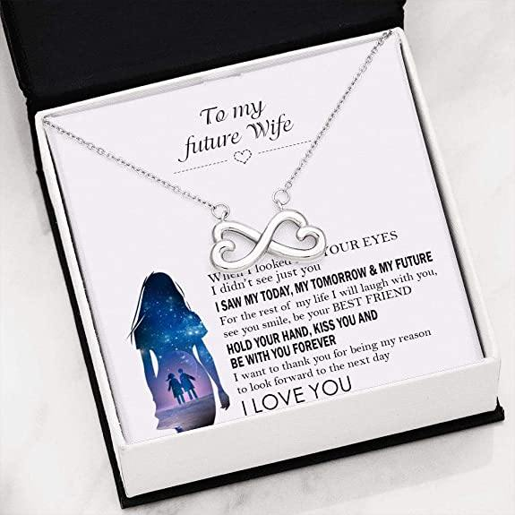 Necklace - to My Future Wife - When I Looked Into Your Eyes - Valentine gift for her
