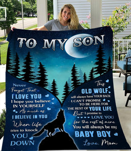 blanket - To My Son, Wolf balnket - You will always be my baby boy, Gift from mom - Gift for birthday, easter