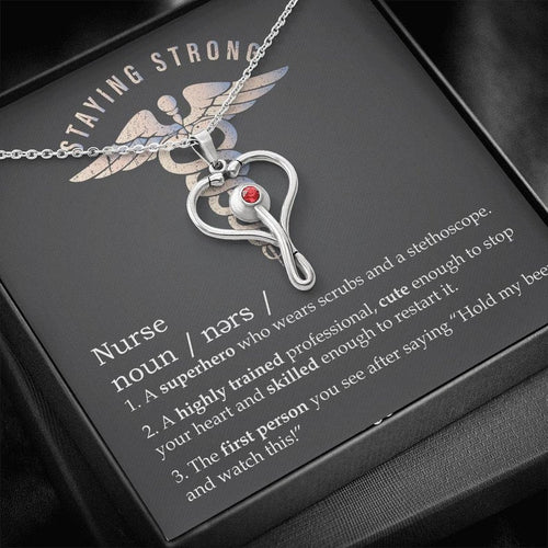 Nurse Gift, Nurse Graduation Gift, Stethoscope Necklace With Message Card, Nurse Appreciation Gift, Funny Nurse Definition Gift, Staying Strong