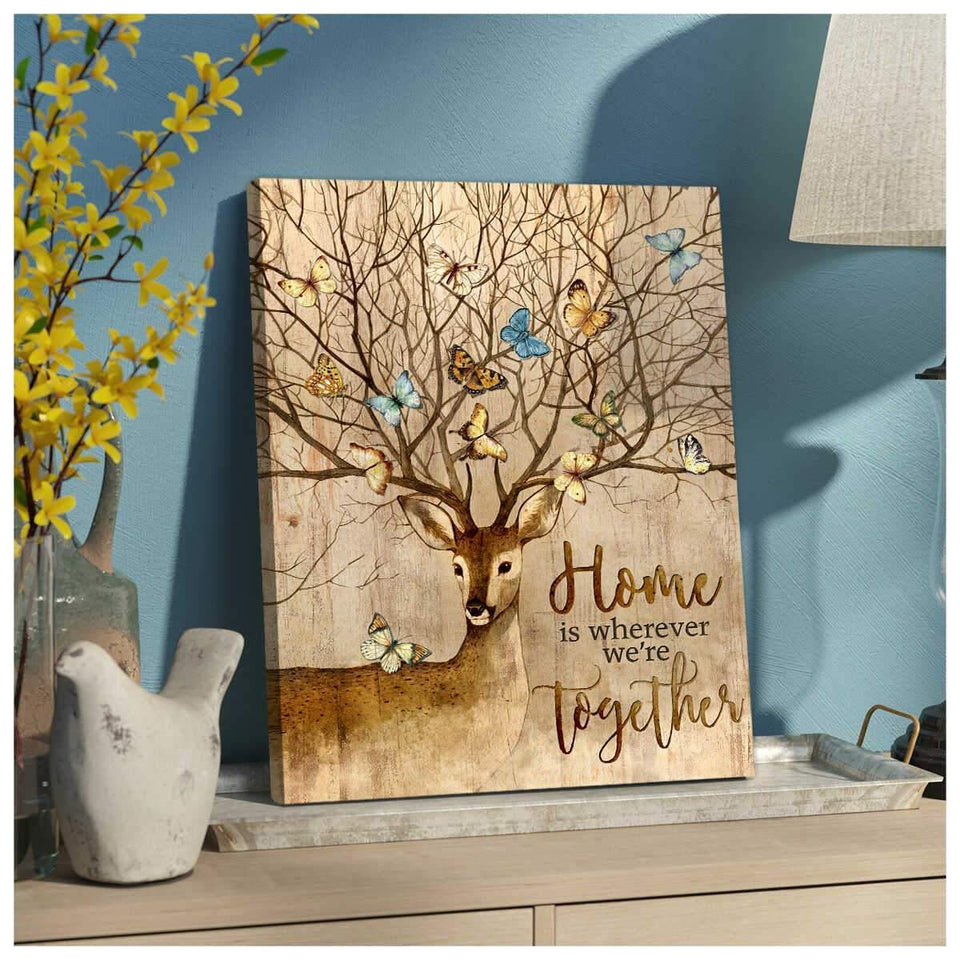 Deer and Butterfly Canvas Home Wall Art Decor - Anniversary Birthday Christmas Housewarming Gift Home Decor