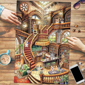 Corgi Coffee Bookshop Puzzle/ Wooden puzzle/ Jigsaw Puzzles for adults and kids/ Laser cut 3D model/ Dog lover gift - Family Presents - Great Blanket, Canvas, Clothe, Gifts For Family