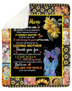 Blanket - To My Mom from Daughter - Sunflower - Birthday gift, Christmas, Mother's day gift - I will always be your little girl