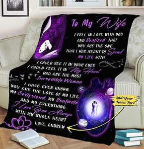 Customized Fleece Blankets for Wife with Husband's Name, Best Gift for Your Life Partner with Quotes, Gift for her on Valentine
