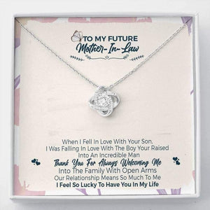 To My Future Mother In Law, Thank You For Welcoming Me Love Knot Necklace | Future Mom In Law Gift, Mother's Day Gift, Mom Jewelry, Mother Daughter Gift - Family Presents - Great Blanket, Canvas, Clothe, Gifts For Family