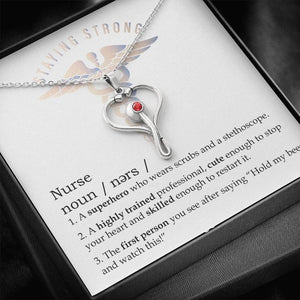 Nurse Graduation Gift, Stethoscope Necklace With Message Card, Nurse Appreciation Gift, Funny Nurse Definition Gift