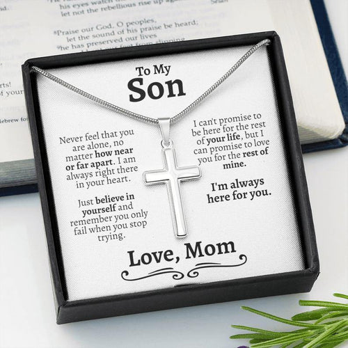 Cross Necklace For Son From mom, Mother Son Jewelry - Gift for son on birthday, easter, graduation - Family Presents - Great Blanket, Canvas, Clothe, Gifts For Family
