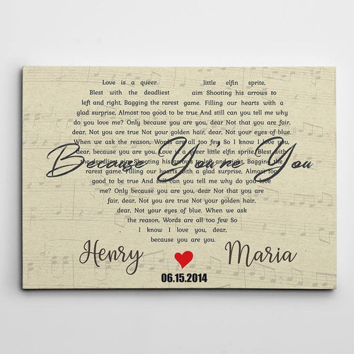 Personalized Canvas - For Husband and Wife - Wedding anniversary Gift - Custom song lyrics and couple names and date