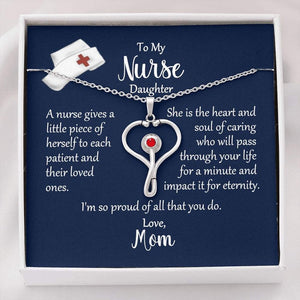 Nurse Stethoscope Necklace, To Nurse Daughter From Mom, Nurse Gift, Nurse Jewelry, Nurse Graduation, Stethoscope Necklace, Message Card