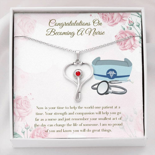 Congratulations On Becoming A Nurse - Nurse Graduation Gift | Necklace For Nurse | Congrats On Nursing Degree | Stethoscope Necklace | Proud Of Nurse Graduate