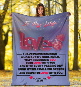 Personalized Fleece Blanket For Wife - I Have Found Someone Who Make My Soul Smile