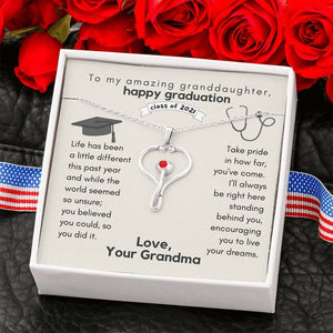 To My Granddaughter Necklace From Grandma, Nurse Graduation Stethoscope Necklace, Gift for Nursing Graduation, Nursing Student Gift