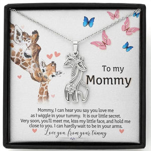 To My Mommy, I Love You From Your Tummy Giraffe Necklace | Gift for Mommy from Baby Bump | Mom Necklace Jewelry, Mother's Day Gift - Family Presents - Great Blanket, Canvas, Clothe, Gifts For Family
