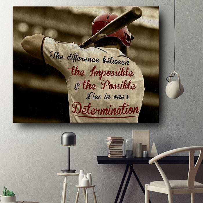 BASEBALL CANVAS - LIES IN ONE'S DETERMINATION - CHRISTMAS, BIRTHDAY GIFT