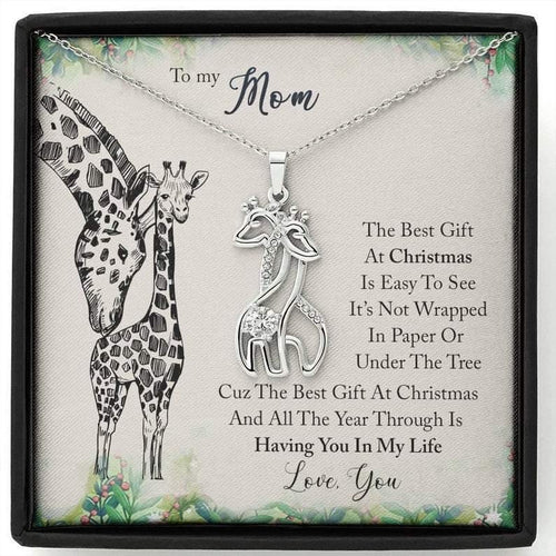 To My Mom, Having You In My Life Giraffe Necklace, Mom Necklace Jewelry, Mother's Day Gift - Family Presents - Great Blanket, Canvas, Clothe, Gifts For Family