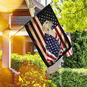 Yellow Labrador Retriever American Patriot House Flag, Garden Flag