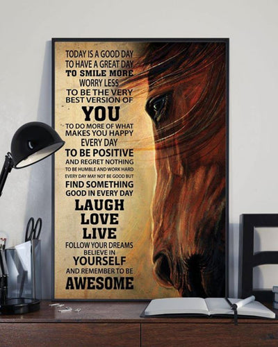 HORSE CANVAS TODAY IS A GOOD DAY - CHRISTMAS, BIRTHDAY GIFT