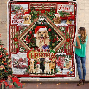 Golden Retriever. We Wish You A Merry Christmas Sofa Blanket- Gift for Christmas, Birthday