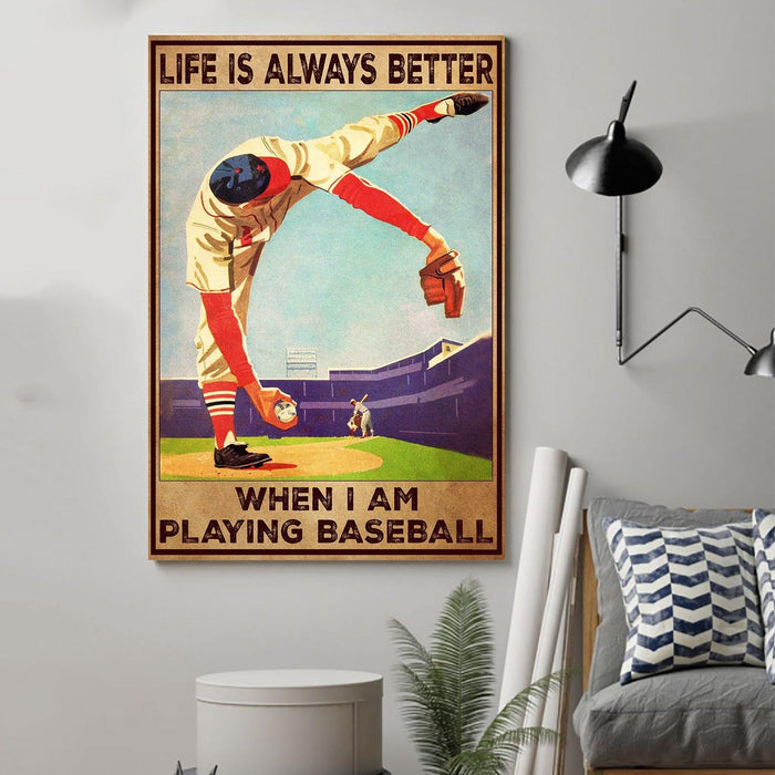 CUSTOMIZABLE BASEBALL CANVAS- LIFE IS ALWAYS BETTER- CHRISTMAS, BIRTHDAY GIFT