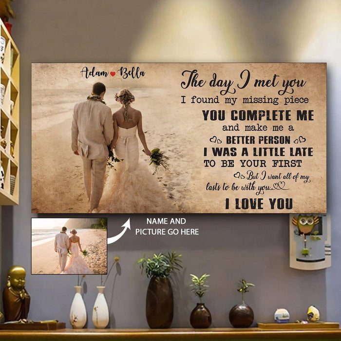 CUSTOMIZABLE FAMILY CANVAS - HUSBAND TO WIFE - THE DAY I MET YOU- CHRISTMAS, BIRTHDAY GIFT