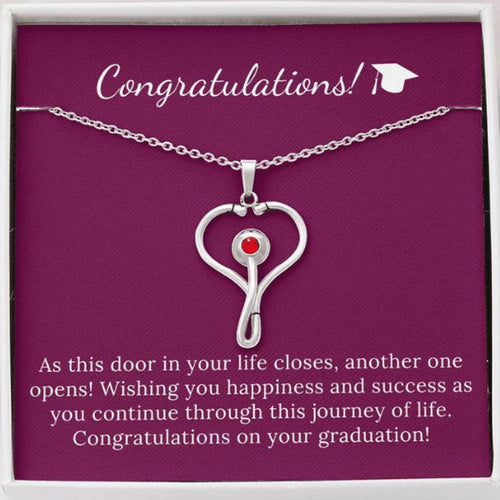 Congratulations Graduate Stainless Steel Heart Stethoscope Necklace Rn, Np, Pa, Doctor, Physician Assistant, Health Care, Nurse Practitioner