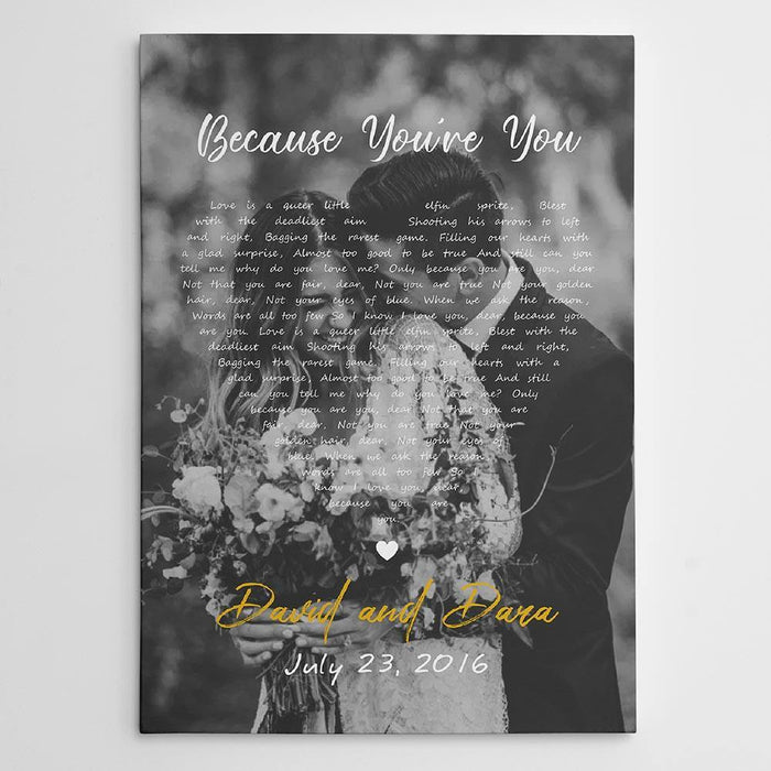 Personalized canvas - Black and White Song Lyrics on Photo Canvas Print - Gift for valentine, anniversary - Family canvas, couple canvas