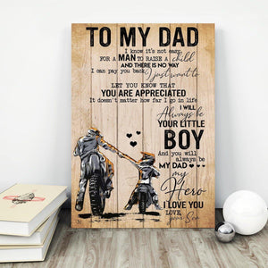 Dad Canvas - To My Dad Biker I Know It's Not Easy For A Man To Raise A Child Canvas - Family Presents