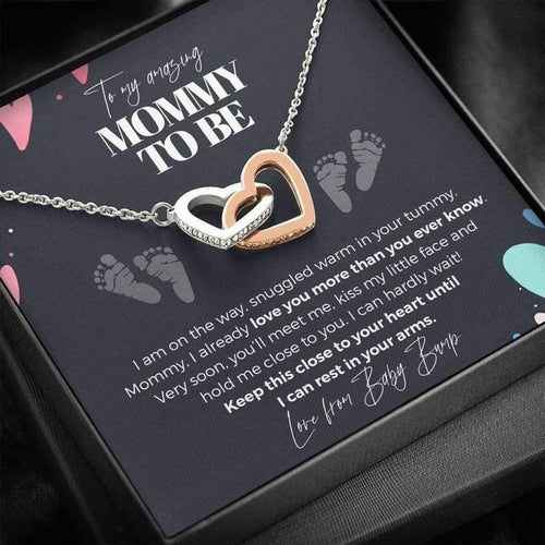 To My Mommy To Be, Never-Ending Love From Baby Bump Necklace | Gift for First Time Mom | Pregnancy Gift Ideas -Interlocking Hearts Necklace, Mother's Day Gift - Family Presents - Great Blanket, Canvas, Clothe, Gifts For Family