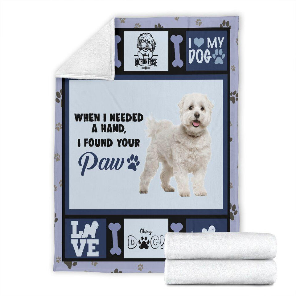 Dog Blanket When I Needed A Hand Bichon Frise Dog Fleece Blanket