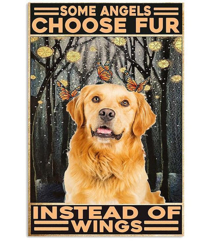 Golden Retriever Canvas - some angels choose fur instead of wings Vertical Canvas
