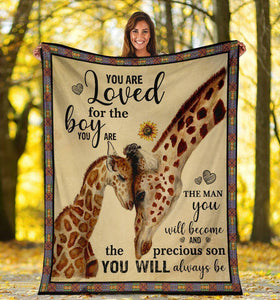 YOU ARE LOVED FOR THE BOY GIRAFFE FLEECE BLANKET - BIRTHDAY, CHRISTMAS GIFT FOR SON - Family Presents - Great Blanket, Canvas, Clothe, Gifts For Family
