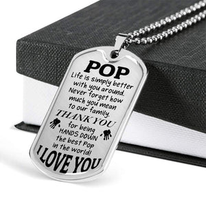 Personalized Fathers Day Necklace, Gift For Pop From Daughter Or Son - Military Style Dog Tags - Thank You For Being The Best Pop