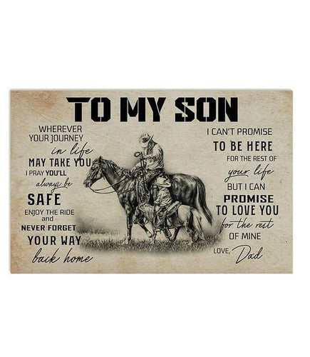 Horse Canvas - To my son canvas - Gift from father - Graduation gift, birthday gift - I can promise to love you for the rest of mine