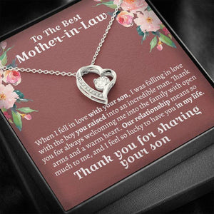Mother's Day Gifts,   To The Best Mother In Law- Thank you for sharing your son - Forever Love Necklace, Mother's Day Gift, Gifts For Mom, Mom Necklace - Family Presents - Great Blanket, Canvas, Clothe, Gifts For Family