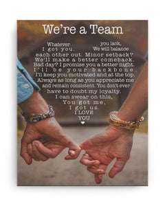 Couple canvas We're A Team Whatever You Lack I Got You Vertical Canvas Prints - Gift for wife/husband on Valentine