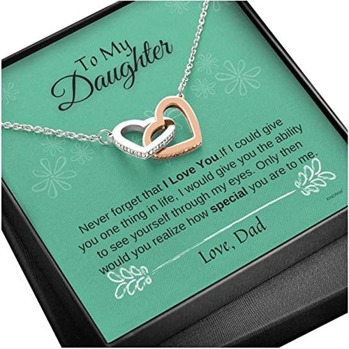 Father Daughter Necklace – Never Forget That I Love You Necklace from Dad - Family Presents - Great Blanket, Canvas, Clothe, Gifts For Family