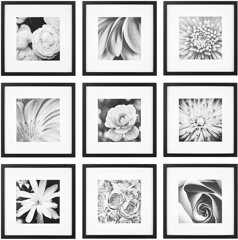 "Gallery Perfect Gallery Wall Kit Square Photos with Hanging Template Picture Frame Set, 12"" x 12"", Black, 9 Piece"