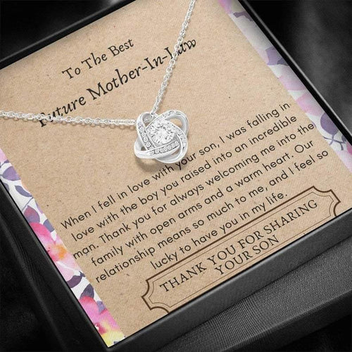 To The Best Future Mother In Law, Thank You For Sharing Your Son - Love Knot Necklace | Future Mom In Law Gift, Mother's Day Gift, Mom Jewelry, Mother Daughter Gift - Family Presents - Great Blanket, Canvas, Clothe, Gifts For Family