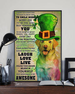 Happy St Patrick Day Canvas - Today is a good day - Dog canvas