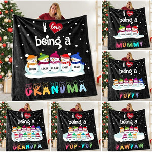 Personalized Blanket - Snowmen Blanket with Grandkids' Names - Gift for Grandma, grandpa