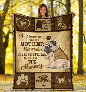 PUG BLANKET - CHRISTMAS GIFT - LIFE IS BETTER WITH A PUG