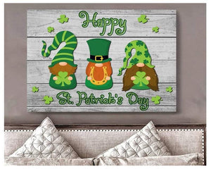 Happy Saint Patrick's Day Gnomes Canvas, Three Lucky Gnomes Print, St Paddy's Day Home Decor, Shenanigan Shamrock Gnomes Wall Decor