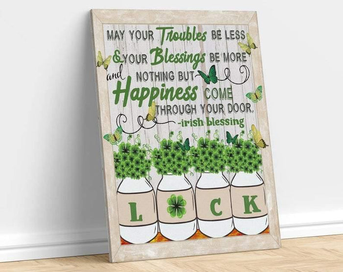 St Patricks Day Canvas, Irish Blessing Wall Art, Shamrock Canvas, Troubles Less Blessings More Happiness Come, Green Butterfy Wal Art