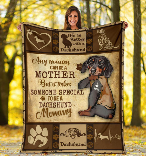 DACHSHUND BLANKET - CHRISTMAS GIFT - TO BE A DACHSHUND MOMMY
