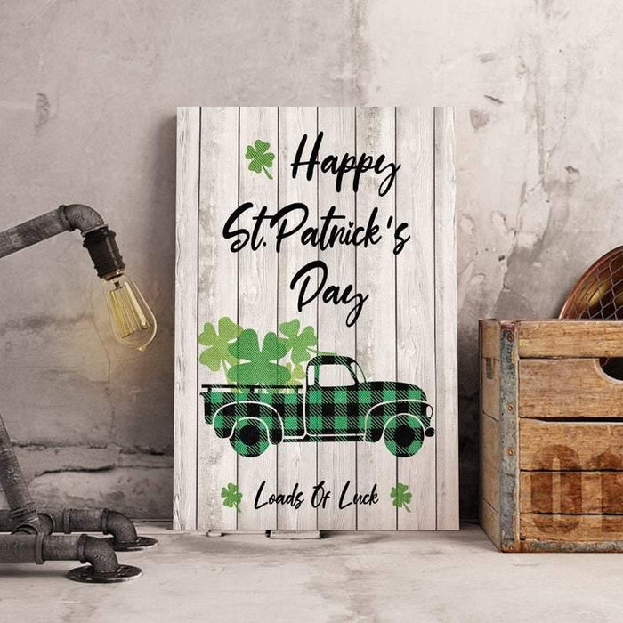 Loads Of Luck Shamrock Truck Canvas, Happy St Patrick's Day Decoration, Lucky Green Buffalo Plaid Truck Print, Retro Farmhouse Truck