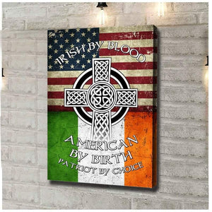 Irish By Blood American By Birth  Canvas, Celtic Knot Cross Symbol Art Print, Patriotic American Flag, Retro Vintage Flag Wall Decor