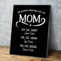 My Greatest Blessings Call Me Mom Personalized Multi-Name Custom Canvas Wall Art, Mother's Day Gift Mother's Day