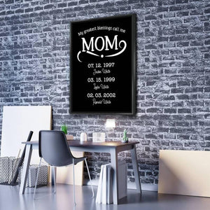 My Greatest Blessings Call Me Mom Personalized Multi-Name Custom Canvas Wall Art, Mother's Day Gift - Family Presents - Great Blanket, Canvas, Clothe, Gifts For Family